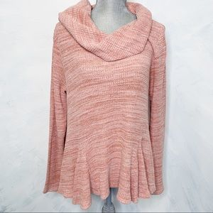 Postage Stamp Cowl Neck Peplum Waffle Knit Top
